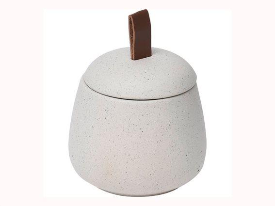 Θήκη μπάνιου για βαμβάκι και για άλλα μικροαντικείμενα διαμέτρου 10 εκατοστών σε λευκό χρώμα