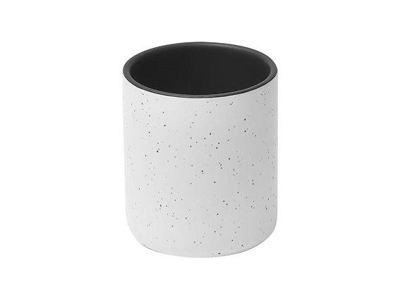 Πήλινο Δοχείο Μπάνιου για Οδοντόβουρτσες με σχέδιο πιτσιλιές σε λευκό και μαύρο ματ χρώμα