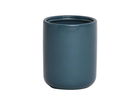 Πήλινο Δοχείο Μπάνιου για Οδοντόβουρτσες σε μπλε χρώμα