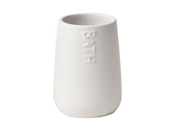 Πήλινο Δοχείο Μπάνιου για Οδοντόβουρτσες σε λευκό χρώμα με σχέδιο Bath