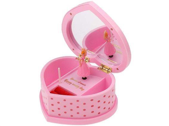 """Μουσικό Κουτί Μπιζουτιέρα σε Σχήμα Καρδιάς """"Love"""", σε ροζ χρώμα, διαστάσεις 14.5x12x6 εκατοστά"""