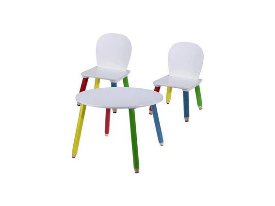 Ξύλινο Σετ Τραπεζάκι με 2 Καρέκλες για παιδιά με πόδια Ξυλομπογιές διαμέτρου 60cm και ύψους 43cm