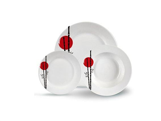 Σετ Σερβίτσια Φαγητού 18 τεμαχίων με Πορσελάνινα Πιάτα σε Λευκό χρώμα και κόκκινο σχέδιο