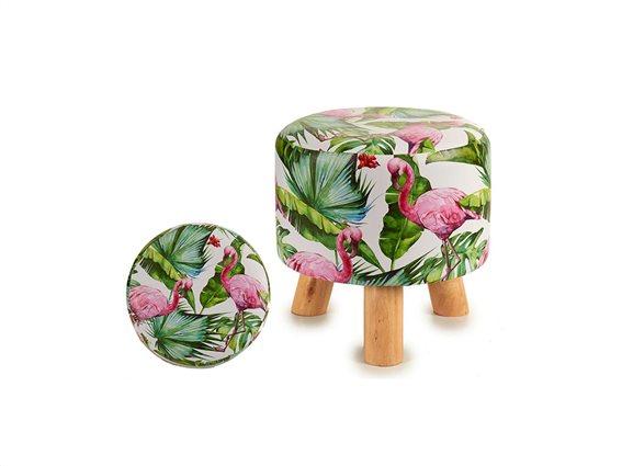 Ξύλινο Σκαμνί Σκαμπό με Υφασμάτινο Κάθισμα και σχέδιο Flamingo, 28x28x28cm
