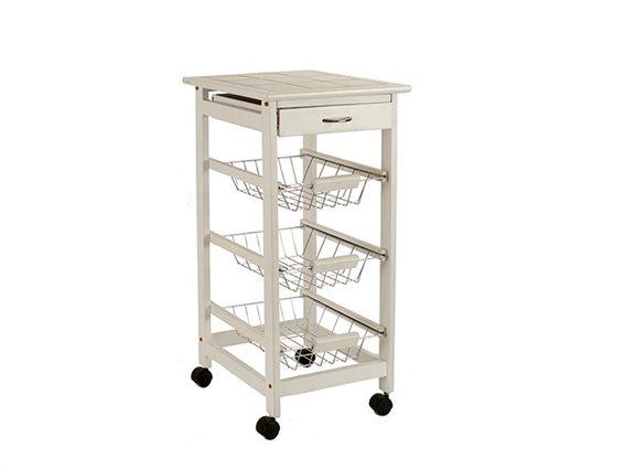 Ξύλινο Τρόλεϊ Κουζίνας με Συρτάρι και 3 Ράφια σε λευκό χρώμα, διαστάσεις 37x37x76 cm