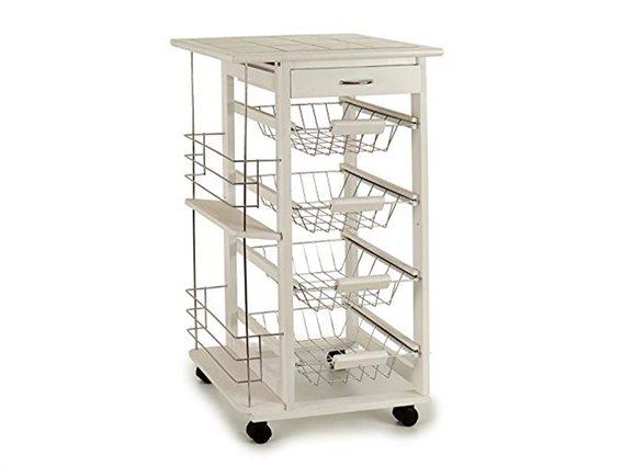 Τρόλεϊ Κουζίνας σε λευκό χρώμα με 4 ράφια,συρτάρι και ράφια, διαστάσεις 47x37x82 cm