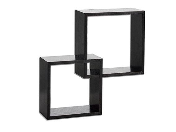 Διπλό Τετράγωνο Διακοσμητικό Ράφι σε μαύρο χρώμα, 31.5x9.5x31.5 cm