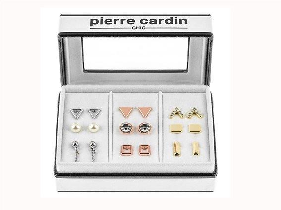 Pierre Cardin PCC7612 Σετ 9 ζευγάρια Γυναικεία Σκουλαρίκια σε Χρυσό Ασήμι και Ροζ Χρυσό