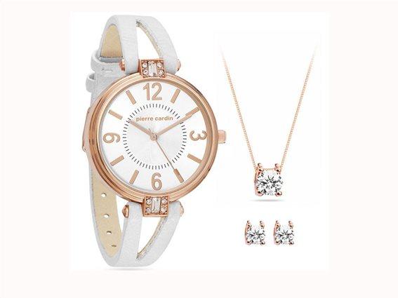 Pierre Cardin Σετ Κοσμημάτων με Ρολόι χειρός σε Ροζ Χρυσό χρώμα, PCX7496L300