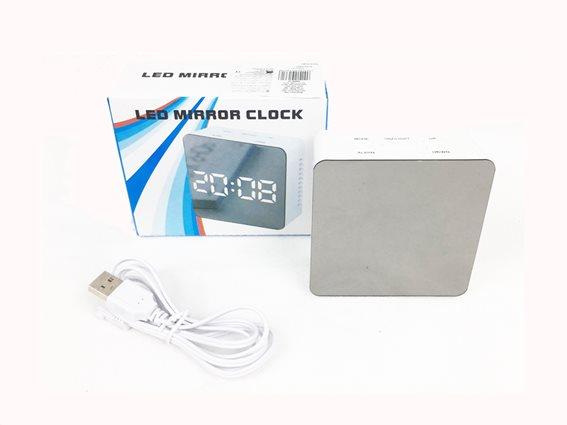 Ψηφιακό Επιτραπέζιο Ρολόι Ξυπνητήρι Καθρέφτης, σε λευκό χρώμα, 8x8x3 cm