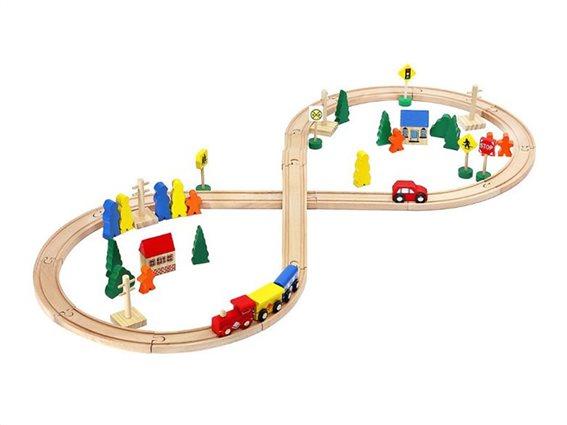 Σετ Ξύλινος Σιδηροδρομικός Σταθμός 50 τεμαχίων, 44x100x7 cm