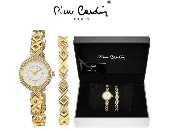 Pierre Cardin  PCX8303DFSET Σετ Ρολόι και Βραχιόλι με στράς σε χρυσό χρώμα