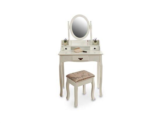 Ξύλινο Έπιπλο Τουαλέτα Κρεβατοκάμαρας με 3 συρτάρια, σκαμπό και καθρέπτη σε λευκό χρώμα, 145x75x40cm