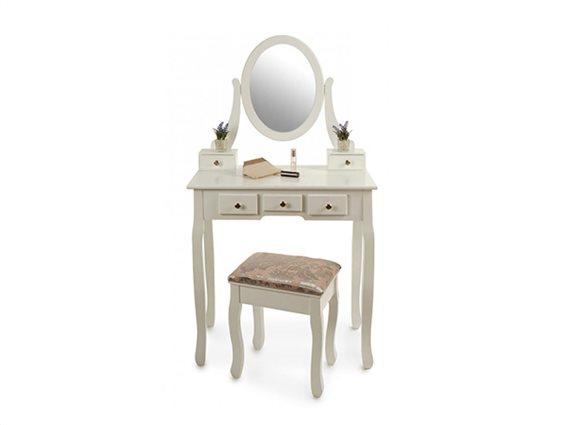 Ξύλινο Έπιπλο Τουαλέτα Κρεβατοκάμαρας με 5 συρτάρια, σκαμπό και καθρέπτη σε λευκό χρώμα, 145x75x40cm