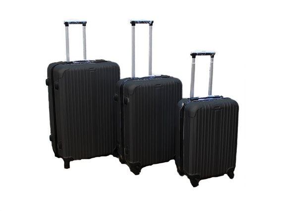 Σετ 3 Βαλίτσες Ταξιδιού ABS με Τηλεσκοπικό Χερούλι, Ροδάκια & Κλείδωμα Ασφαλείας σε μαύρο χρώμα