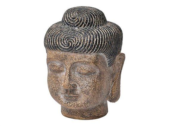 Κεφάλι Βούδα Διακοσμητικό Αγαλματίδιο, σε καφέ χρώμα,  13.5x18.2 cm