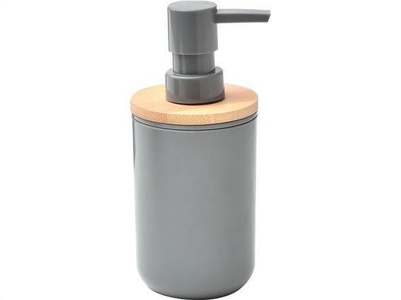 Διανεμητής Σαπουνιού Dispenser από Πλαστικό και Bamboo υλικό, γκρι χρώμα,  7.2x16 cm