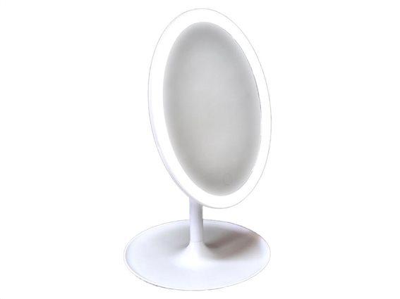 Φωτιζόμενος Καθρέφτης Μακιγιάζ με LED, οβάλ σχήμα σε λευκό χρώμα,  18x31.5 cm