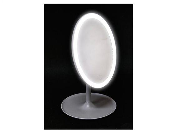 Φωτιζόμενος Καθρέφτης Μακιγιάζ με 33 LED, οβάλ σχήμα σε γκρι χρώμα, 18x31.5 cm