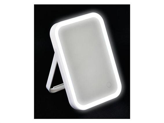 Φωτιζόμενος Καθρέφτης Ομορφιάς, τετράγωνο σχήμα και λευκό χρώμα,  15x2.5x22 cm