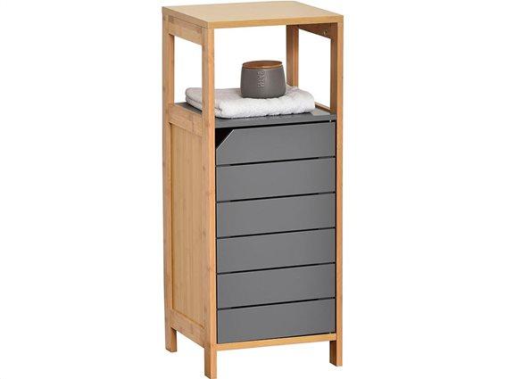 Bamboo Ξύλινο Έπιπλο Μπάνιου με 1 ντουλάπι και 1 ράφι, καφέ γκρι χρώμα,  32x30x80 cm
