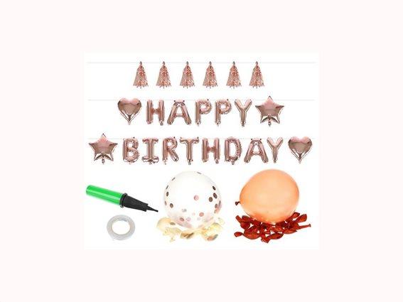 Σετ μπαλονιών 36 τεμαχίων Happy Birthday Μπαλόνια για γενέθλια σε Roze Gold Χρώμα και τρόμπα