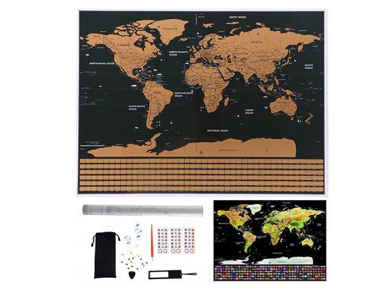 Παγκόσμιος Χάρτης Ξυστό με Αξεσουάρ σε μαύρο-χρυσό χρώμα, Scratch map world 82x59 cm