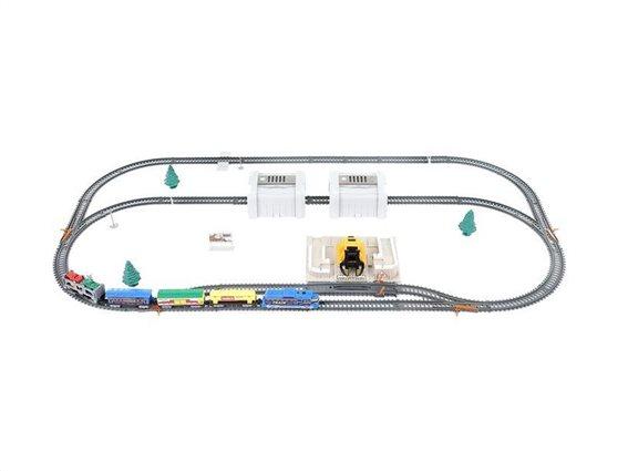 Σετ Συναρμολογούμενος Σιδηρόδρομος 53 τεμαχίων με Αξεσουάρ μήκους 5.5 μέτρων, 60x40x10 cm