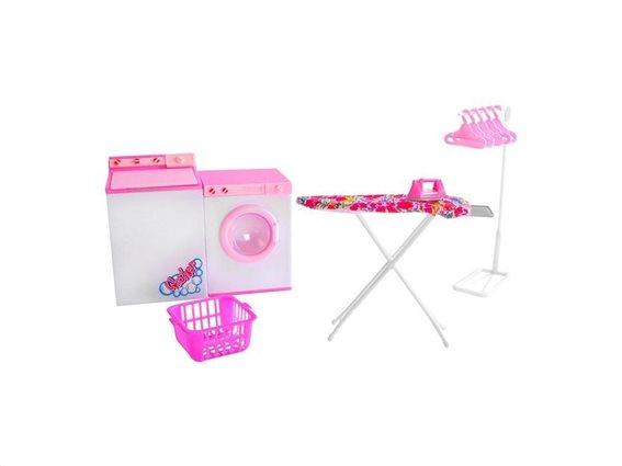Σετ Παιδικό Σύστημα Σιδερώματος με Πλυντήριο, Στεγνωτήριο, Σιδερώστρα και Κρεμάστρες σε ροζ χρώμα