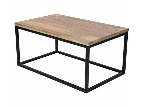 Ορθογώνιο Τραπεζάκι Σαλονιού με μεταλλική βάση και ξύλινη επιφάνεια, 100x60x48 cm