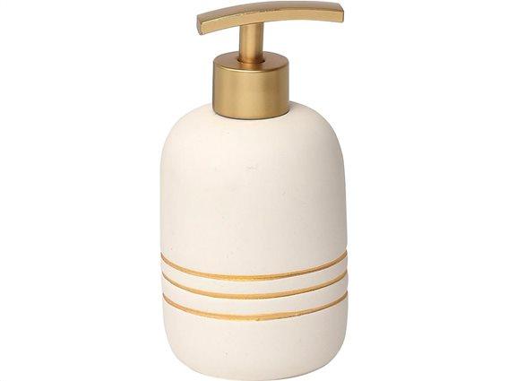 Διανεμητής Σαπουνιού Dispenser Δοχείο για Κρεμοσάπουνο σε λευκό χρώμα με χρυσές ρίγες, 9.8x10 cm