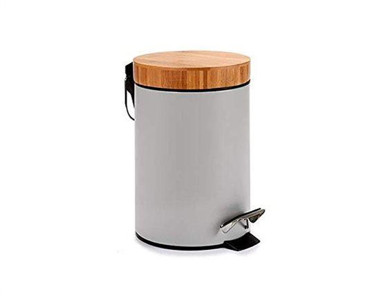 Κάδος Απορριμάτων Μπάνιου 3L σε γκρι χρώμα με πεντάλ και Bamboo καπάκι, 17x26 cm