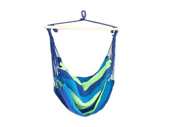 Aria Trade Μονή Αιώρα Κούνια με ρίγες και μέγιστο βάρος αναβάτη 120kg σε μπλε χρώμα
