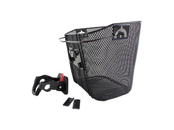 Aria Trade Μεταλλικό Καλάθι Ποδηλάτου Εμπρόσθιο, για το Τιμόνι σε Μαύρο χρώμα, 33x26x25cm