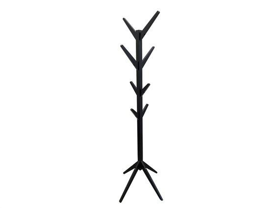 Aria Trade Ξύλινος Καλόγερος με 8 Γάντζους σε Μαύρο χρώμα, 45x45x177 cm