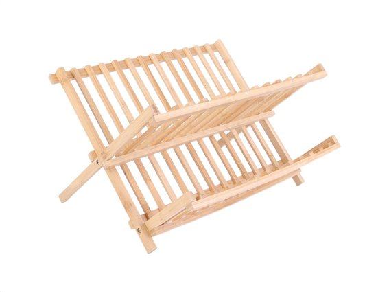 Aria Trade Bamboo Πτυσσόμενο Διπλό Στεγνωτήριο Πιάτων σε φυσικό χρώμα ξύλου, 33x40x24 cm