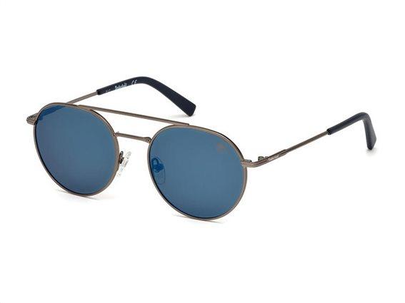 Timberland Ανδρικά Γυαλιά Ηλίου με μεταλλικό σκελετό σε γκρι χρώμα και μπλε φακούς, TB9123 09D 52