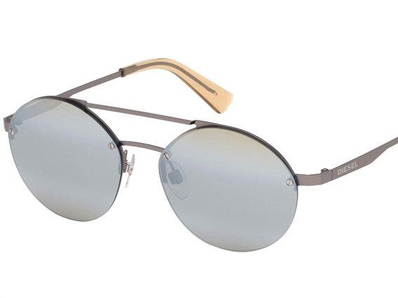 Diesel Γυναικεία Γυαλιά Ηλίου με μεταλλικό σκελετό σε ασημί  χρώμα και ασημί φακούς καθρέφτη