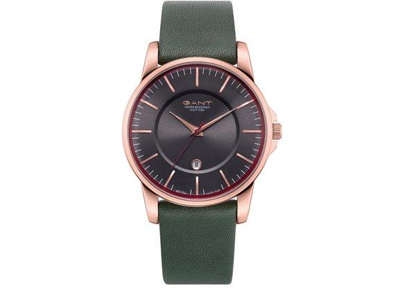 Gant Γυναικείο Αναλογικό Ρολόι Χειρός με πράσινο δερμάτινο λουράκι και μαύρο καντράν, GTAD00401599I