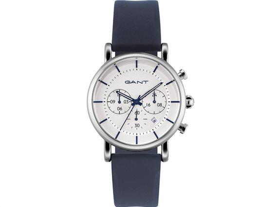 Gant Ανδρικό Αναλογικό Ρολόι Χειρός με λουράκι από σιλικόνη σε μπλε χρώμα και κρεμ καντράν