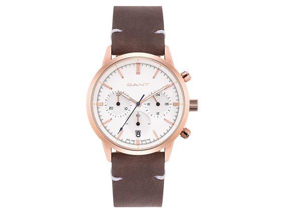 Gant Γυναικείο Αναλογικό Ρολόι Χειρός με δερμάτινο καφέ λουράκι και λευκό καντράν, GTAD08200199I