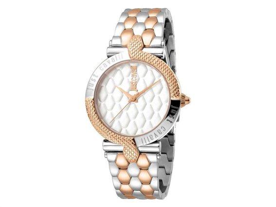 Just Cavalli Γυναικείο Αναλογικό Ρολόι Χειρός με ασημί χρυσό μπρασελέ και λευκό καντράν, Carattere