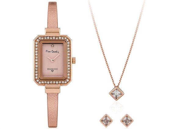 Pierre Cardin Σετ Κοσμημάτων με Γυναικείο ρολόι χειρός, σκουλαρίκια και κολιέ σε Rose Gold χρώμα