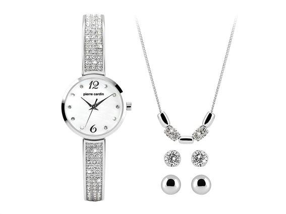 Pierre Cardin Σετ Κοσμημάτων με Γυναικείο Ρολόι Χειρός, σκουλαρίκια και κολιέ, PCX4690L199