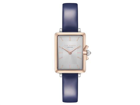 Ted Baker Γυναικείο Αναλογικό Ρολόι Χειρός Τετράγωνο με μπλε δερμάτινο λουράκι και γκρι καντράν