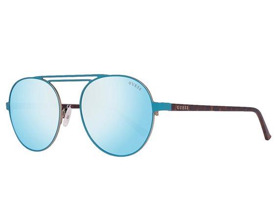 Guess Ανδρικά Γυαλιά Ηλίου με πλαστικό σκελετό σε καφέ χρώμα και μπλε φακούς, GU3028 88Q 55