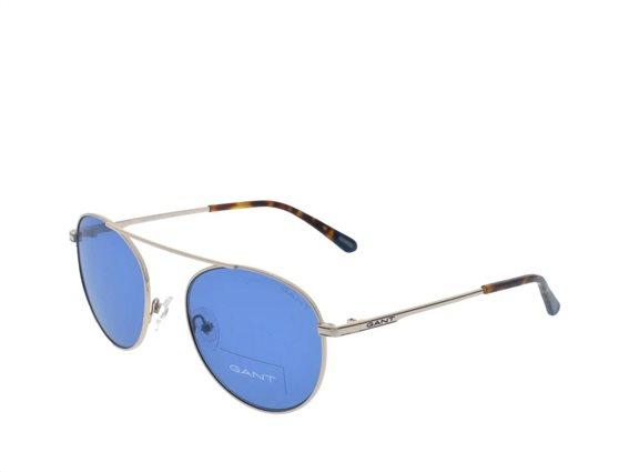 Gant  Ανδρικά Γυαλιά Ηλίου με μεταλλικό Ασημί σκελετό και μπλε φακούς,  GA7106 32V 54