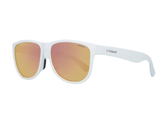 Polaroid Ανδρικά Γυαλιά Ηλίου με πλαστικό σκελετό σε λευκό χρώμα και κίτρινους φακούς