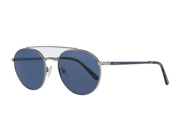 Gant Ανδρικά Γυαλιά Ηλίου με μεταλλικό σκελετό σε ασημί χρώμα και μπλε φακούς, GA7108 10V 53