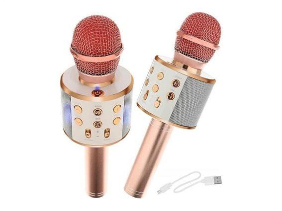 Ασύρματο Μικρόφωνο Καραόκε με Bluetooth και μεγάφωνο σε ροζ χρώμα, 23x7.5 cm